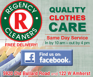 Regency Cleaners. Quality Clothes Care. Free Delivery! Same day service, in by 10am, out by 4pm. Find us on Facebook. 5920 Old Bullard Road and 122 W Amherst.