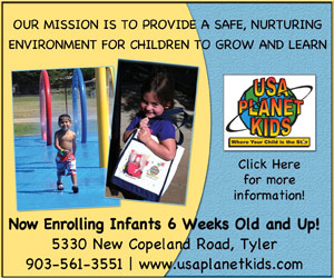 Our Mission is to provide a safe, nurturing environment for children to grow and learn. Now enrolling infants 6 weeks old and up! USA Planet Kids. 5330 New Copeland Road, Tyler. 903-561-3551. www.usaplanetkids.com. Click here for more information!