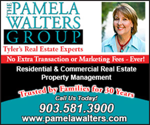 The Pamela Walters Group - Tyler's Real Estate Experts. No extra transaction or marketing fees - ever! Residential & Commercial Real Estate Property Management. Trusted by families for over 30 years. Call us today! 903-581-3900 www.pamelawalters.com