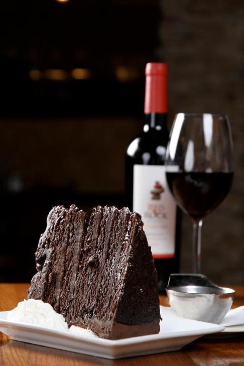 bottle of wine and cake